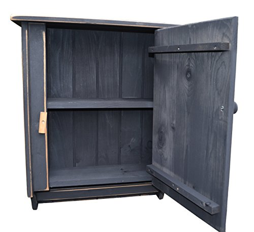 Wall Pine Cupboard (Farmhouse Antique Black Country Pine Cupboard with Latching Door, Shelf and Towel bar)