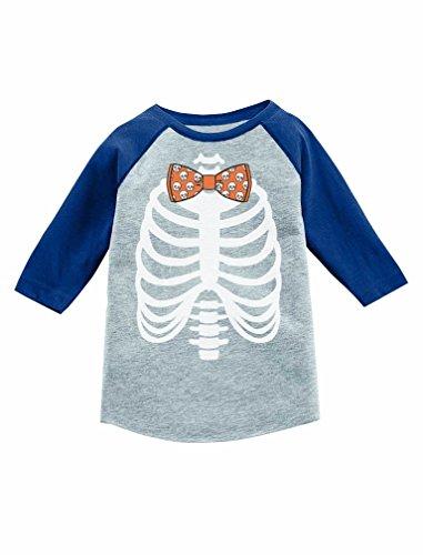 Halloween Costume Tie Skeleton Xray 3/4 Sleeve Baseball Jersey Toddler Shirt 3T Blue