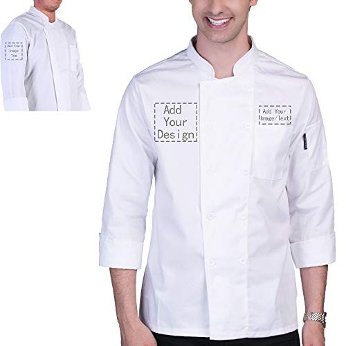 Personalized Customized Chef Jacket Standing Collar Hotel Kitchen Restaurant Chef Coat White(White Bstyle, XL)