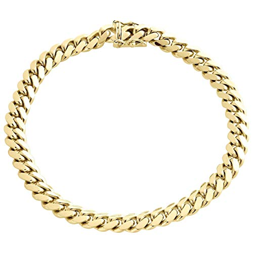 Orostar 10K Yellow Gold 7MM Miami Cuban Curb Link Chain and Bracelet with Box Lock Clasp (8) ()