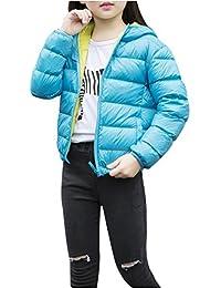 Ilishop Girl's Hooded Winter Coat Packable Light Weight Down Jacket
