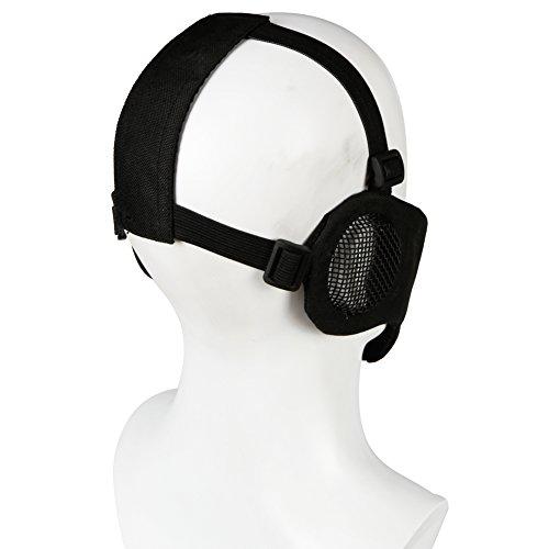 ATAIRSOFT Tactical Airsoft CS Demi-Masque de Protection en Nylon avec Masque Anti-Bruit 5