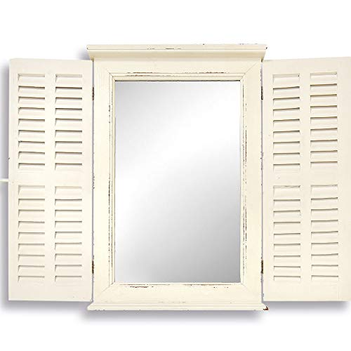 he Stockbridge Farmhouse Style Mirror, Rustic White, Distressed Vintage Finish, Sustainable Fir Wood and Glass, Shutters, Brass Hardware, 27 5/8H x 17 7/8W inches, By ()