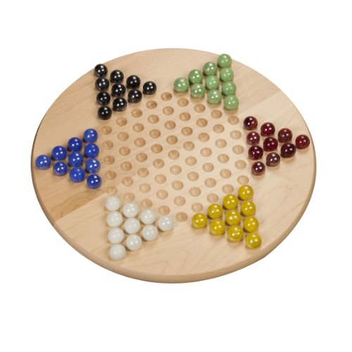 WE Games Chinese Checkers - Solid Maple Wood with Glass Marbles - 11 inch (Made in USA)