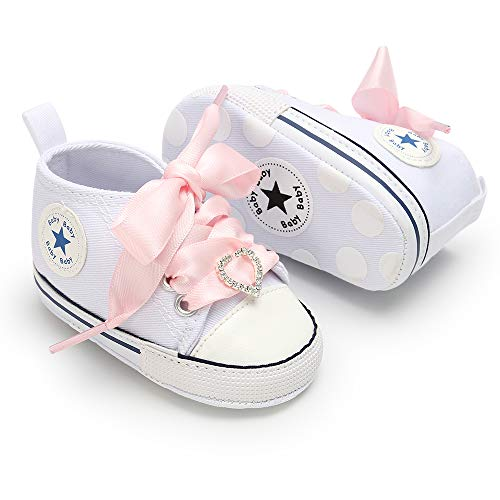 3-18 Months Unisex Baby Boys Girls Star High Top Sneaker Soft Anti-Slip Sole Newborn Infant First Walkers Canvas Polka Dots Shoes (Dots Polka Kids Shoes)