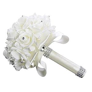 StillCool Wedding Bouquets Crystal Pearl Silk Roses Bridal Bridesmaid Wedding Hand Bouquet Artificial Fake Flowers 2