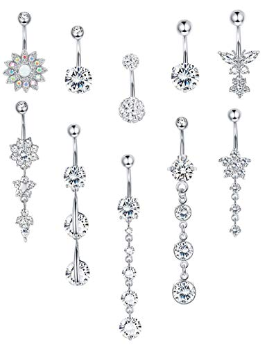 LOYALLOOK 5-6pcs 14G Stainless Steel Belly Button Rings for Women Girls Navel Rings Crystal CZ Body Piercing (E:10pcs Silver Tone)