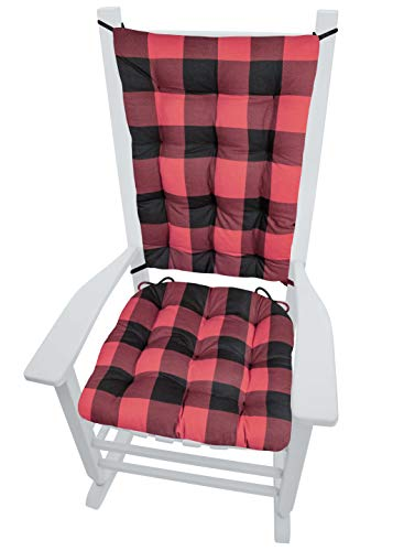 Barnett Rocking Chair Pads - Buffalo Check Black and Red - Size Extra-Large - Seat Cushion & Back Rest - Latex Foam Fill, Reversible (XL/Buffalo Plaid/Black Red)