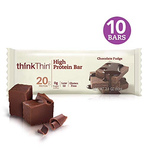 thinkThin High Protein Bars – Chocolate Fudge, 20g Protein, 0g Sugar, No Artificial Sweeteners, Gluten Free, GMO Free*, Best Nutritional Snack/Meal bar, 2.1 oz bar (10Count)