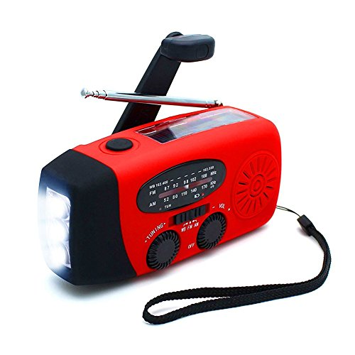 [2018] Solar Emergency Radios, ANTOPM Self Powered Hand Crank Radio, FM/AM/NOAA Weather Radio with 3 LED Flashlight 1000mAh Power Bank Phone Charger, 3-in-1