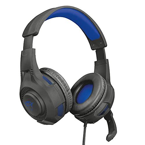 Trust Gaming Cascos PS4 & PS5 GXT 307B Ravu Auriculares Gamer con Micrófono Plegable y Corto y Diadema Ajustable, Cable de 2 m, para Playstation 4 & 5 - Azul