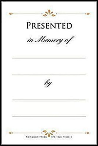 Presented in Memory of Bookplates (Pkg of 48)