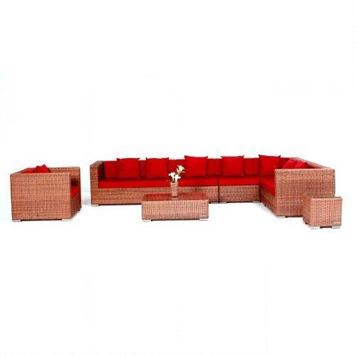 outflexx sitzgruppe xxl aus polyrattan inkl kissen f r 8 personen hellbraune rundfaser g nstig. Black Bedroom Furniture Sets. Home Design Ideas