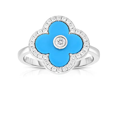 Unique Royal Jewelry Solid 925 Sterling Silver Cubic Zirconia Open Four Leaf Clover Ring. (Turquoise Size-6)