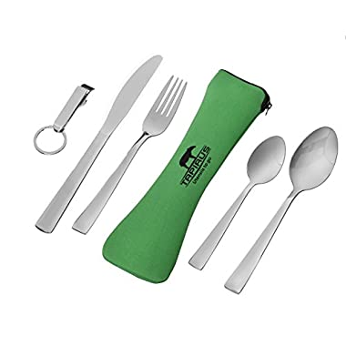 Tapirus Utensils to Go 5-in-1 Stainless Steel Camping Utensil Set (Fork, Knife, Spoon, Teaspoon, Bottle Opener) + Green Case. Portable Lightweight Cutlery Set For Travel, Mess Kits, Work Lunches