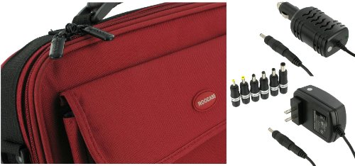 rooCase 3n1 Combo - Packard Bell 11.6-Inch Dot M Netbook Carrying Bag Case with 12v Car and AC Adapter Wall Charger - Red / Black Classic Series