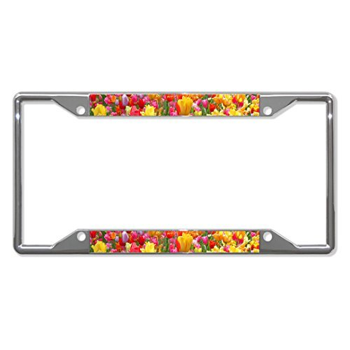 License Plate Frame Tulip Flower Chrome Metal Tag Holder Four Holes