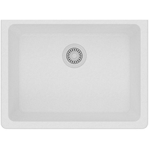 Elkay Quartz Classic ELGU2522WH0 Single Bowl Undermount Sink, White (White Undermount Kitchen Sink 30)
