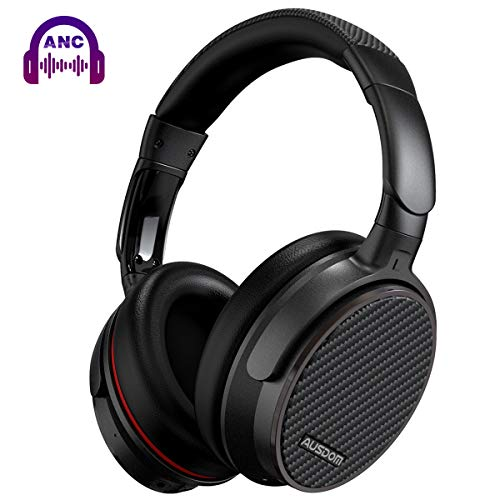 Active Noise Cancelling Headphones Bluetooth, AUSDOM ANC7S Wireless Headphones Over Ear with Microphone Hi-Fi Deep Bass Sound Carrying Case Foldable Wireless Headsets for iPhone Android PC TV Airplane