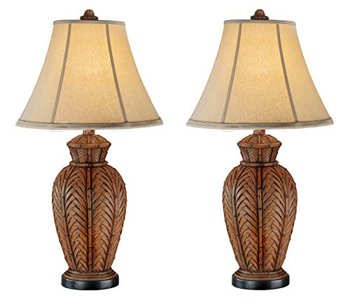 (Seahaven Antique Accent Wicker Night Light Table Lamp Antique Brown - Set)