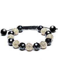 Black Gold Tone Pave Crystal Shamballa Inspired Bracelet for Women for Men Ball Black Cord String Adjustable