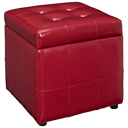 (Modway Volt Storage Upholstered Vinyl Ottoman in Red)