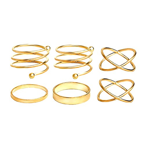 Ring Toe Sexy Gold - Cougar's Choice 6pcs Stack Rings Glod Plated Ring Knuckle Nail Ring Set