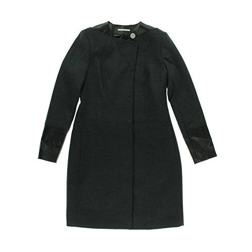 Price comparison product image Tahari Womens Madign Solid Faux Leather Trim Basic Coat Gray 10