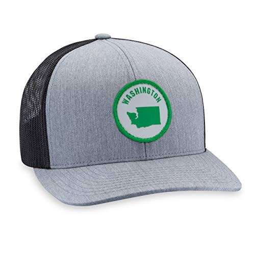 Washington Hat - Washington State Trucker Hat Baseball Cap Snapback Golf Hat (Grey)
