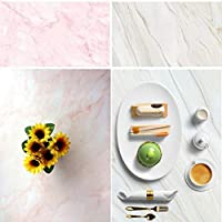 "FOTIQA 3D Double Sided Photography Background ""White & Pink Dreamy Marbles"" Waterproof Paper Tabletop Backdrop for Food and Product Photography 60X90cm #8815"