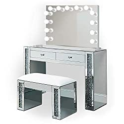Mirrored Vanity Table Crystal Table and Chair