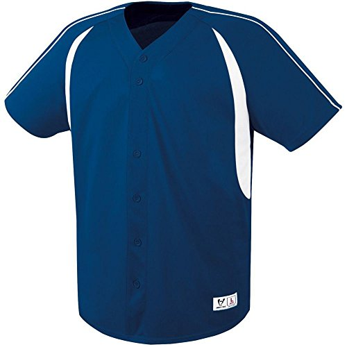 (High Five Impact Full-Button Jersey-Adult,Navy/White,Small)