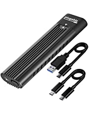 Plugable USB C to M.2 NVMe Tool-free Enclosure USB C and Thunderbolt 3 Compatible up to USB 3.1 Gen 2 Speeds (10Gbps). Adapter Includes USB-C and USB 3.0 Cables (Supports M.2 NVMe SSDs 2280 2260 2242)