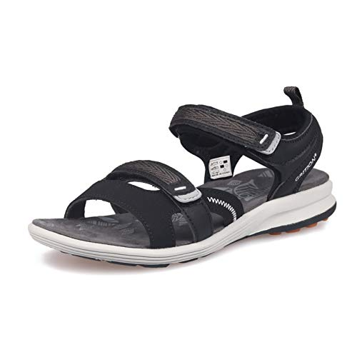 GRITION Women Walking Sandals, Outdoor Girl Sport Light Weight Hiking Shoes Summer Flat Beach Water Shoes Open Toe Adjustable Ladies Sling Back Sandal Black (6 US / 36 EU) ()
