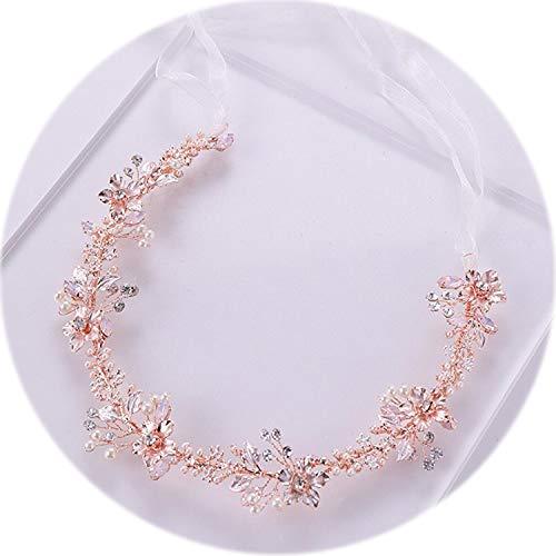- Rose Gold Flower Pearl Headband Tiara Wedding Bridal Princess Headband Hair Jewelry Crystal Pearl Headband Bride Headdress