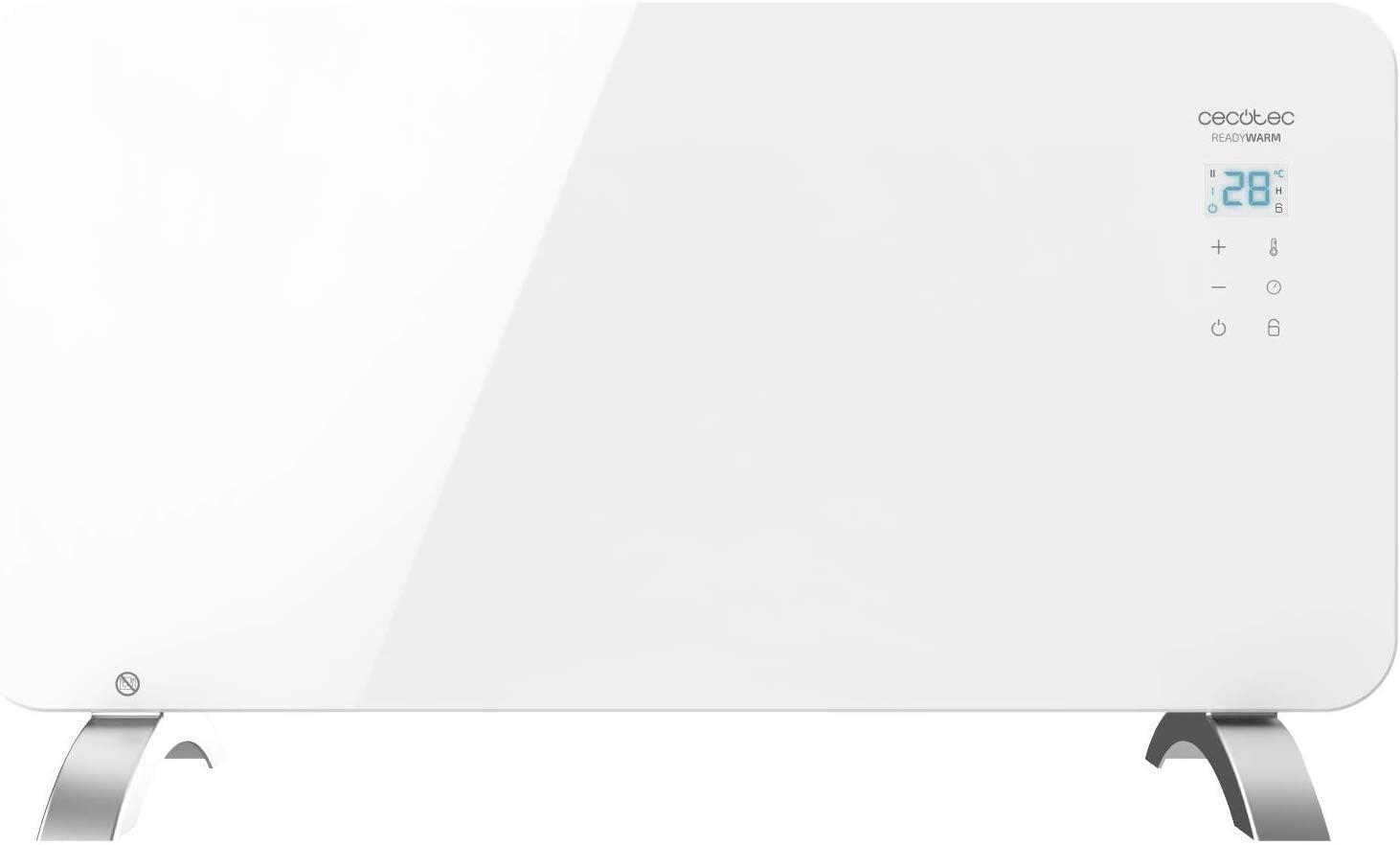 Cecotec Radiador Eléctrico Bajo Consumo Ready Warm 6700 Crystal Connection Con Wifi, 1000 W, Termostato Regulable, Temporizador, Soporte de pie, Protección sobrecalentamiento, Silencioso, Negro