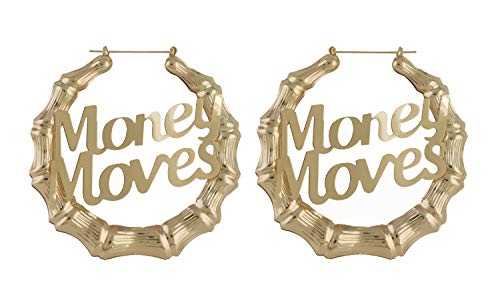 HONB Gold Tone Hollow Casting Round Bamboo Hoop Earrings (14K Gold Money Moves)