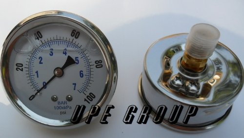 NEW STAINLESS STEEL LIQUID FILLED PRESSURE GAUGE WOG WATER OIL GAS 0 to 100 PSI CENTER BACK MOUNT 0-100 1/4