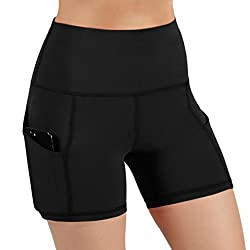 Ododos High Waist Out Pocket Yoga Short Tummy Control Workout Running Athletic Non See Through Yoga Shorts Black Large
