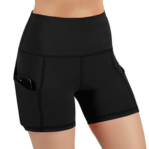ODODOS High Waist Out Pocket Yoga Short Tummy Control Workout Running Athletic Non See-Through Yoga Shorts,Black,Large