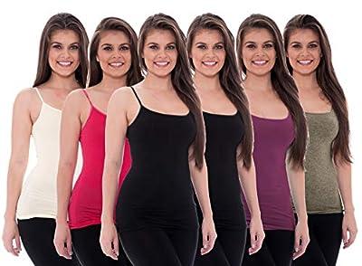 Unique Styles 6 Pack Women's Tanks Tops Adjustable Spaghetti Strap Cotton Cami