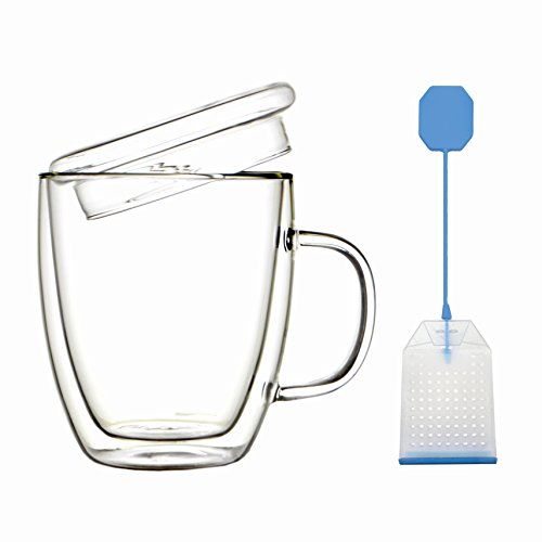 Ultra Clear Double Wall Glass - with Lid and Handle - 16 oz - Keep Your Hot Tea and Coffee Warmer - Free Reusable Loose Leaf Tea Infuser Included with Mug
