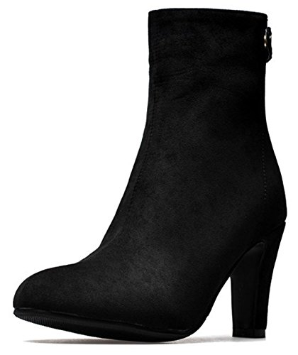 Easemax Women's Fashion Zip Up Pointed Toe High Chunky Heel Faux Suede Martin Ankle Booties Black NGvvgio5