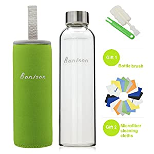 BONISON Stylish Environmental Borosilicate Glass Water Bottle with Colorful Nylon Sleeve (18oz) (GREEN)