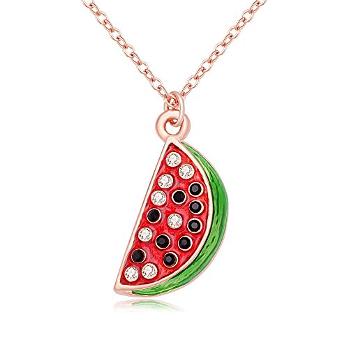 SENFAI Gold Plated Watermelon Pandent Necklace for Girls and Womens (Rose Gold)