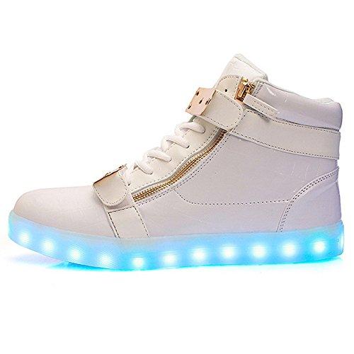 Scarpe Led Light Up Per Uomo E Donna Scarpe Da Ginnastica Alte Di Ricarica Usb Di Grandi Dimensioni Bianche