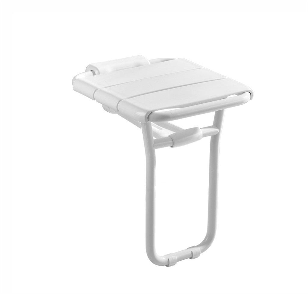 高齢者の看護師のための壁掛けのシャワーシートスツールアンチスリップ安全で安定したバススツールバスルームバリアブルシャワースツールフォールディングイエロー (色 : 白) B07F3W6G2V 白 白