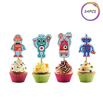 Set of 24 Robots Cupcake Toppers - Baby Shower or Birthday Party Party selection