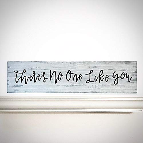 CELYCASY Custom Wood Sign - Handlettered 30x7.5 Quote Plank - Cloud Gray - There's No One Like You - Customizable Wood Saying - Custom Quote Plank