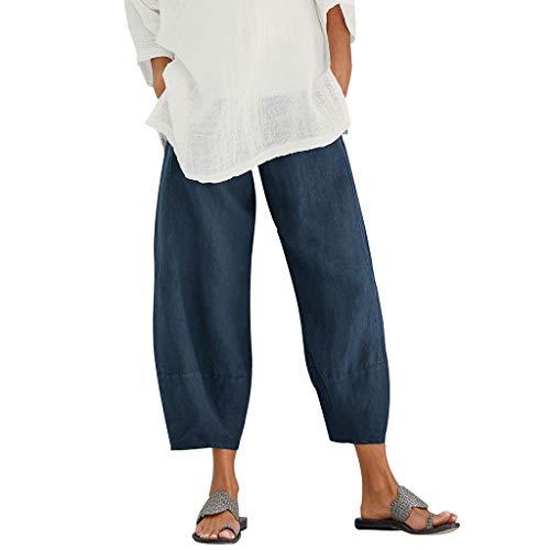 【HebeTop】 Women's Wide Leg Crop Yoga Pants - Flowy Culotte Women's Petra Wide Leg Pant Navy ()
